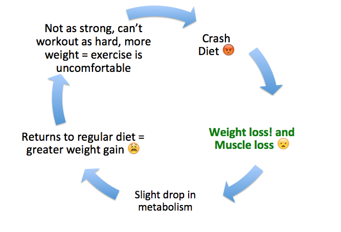 crash dieting leads to muscle loss