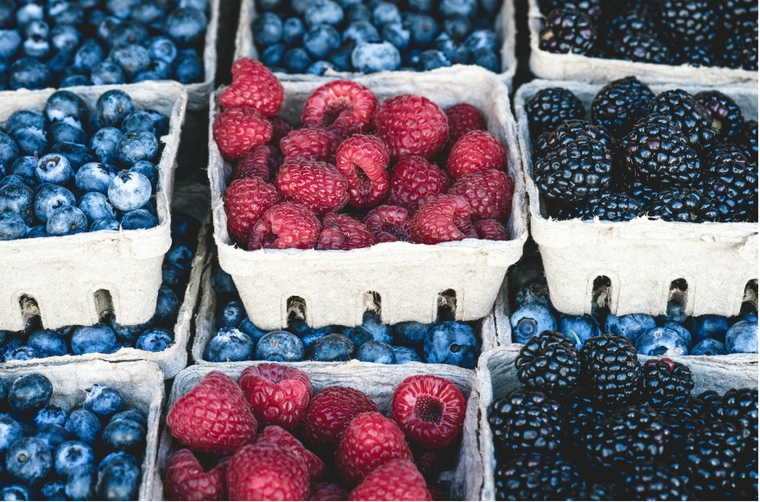 organic blueberries, raspberries and blackberries