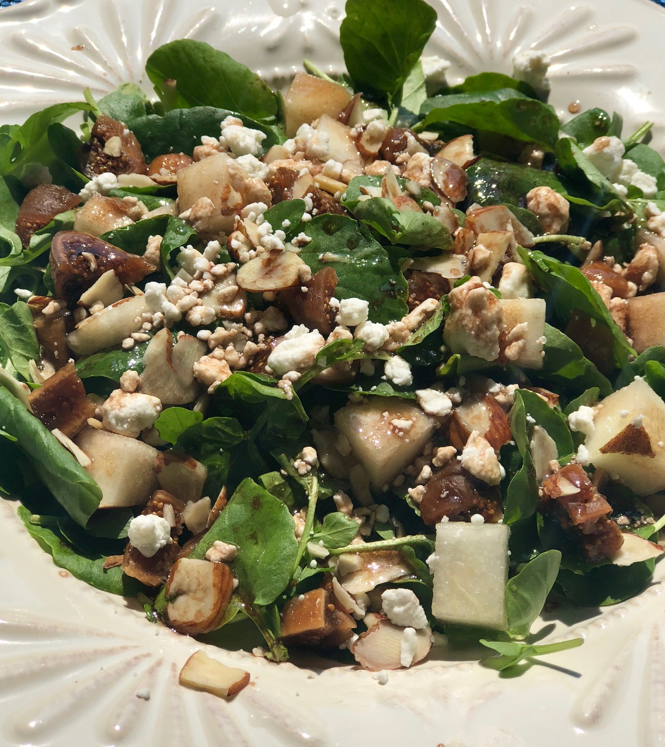 watercress, pear, fig and goat cheese salad